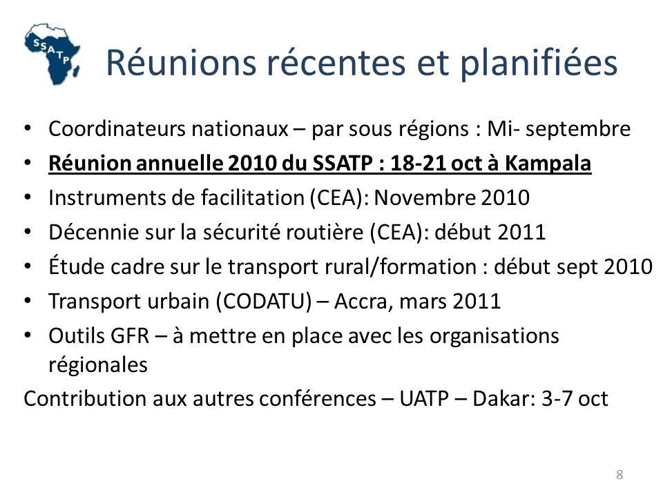 Réunions récentes et planifiées Coordinateurs nationaux – par sous régions : Mi- septembre Réunion annuelle 2010 du SSATP : 18-21 oct à Kampala Instruments de facilitation (CEA): Novembre 2010 Décennie sur la sécurité routière (CEA): début 2011 Étude cadre sur le transport rural/formation : début sept 2010 Transport urbain (CODATU) – Accra, mars 2011 Outils GFR – à mettre en place avec les organisations régionales Contribution aux autres conférences – UATP – Dakar: 3-7 oct 8
