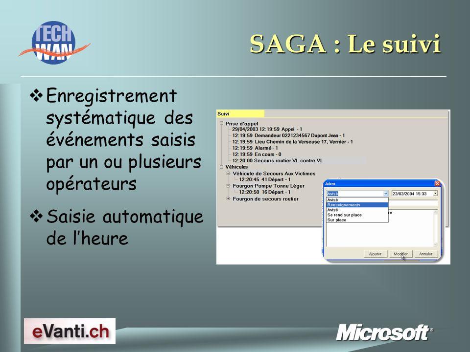 SAGA : Le suivi Enregistrement systématique des événements saisis par un ou plusieurs opérateurs Saisie automatique de lheure