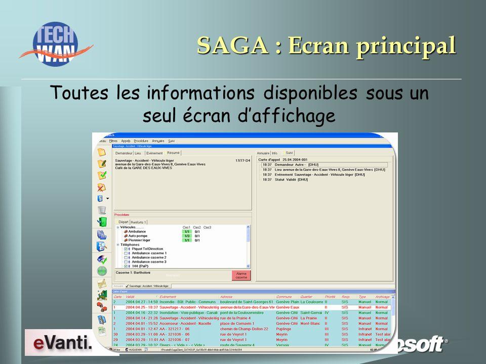 SAGA : Ecran principal Toutes les informations disponibles sous un seul écran daffichage