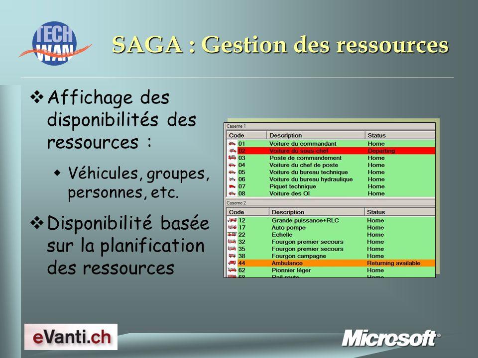 SAGA : Gestion des ressources Affichage des disponibilités des ressources : Véhicules, groupes, personnes, etc.