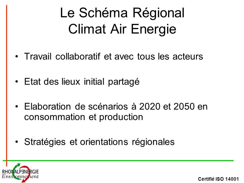 Certifié ISO 14001 Le Schéma Régional Climat Air Energie Travail collaboratif et avec tous les acteurs Etat des lieux initial partagé Elaboration de scénarios à 2020 et 2050 en consommation et production Stratégies et orientations régionales