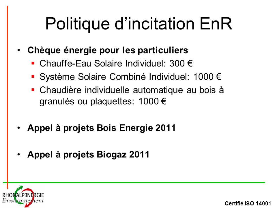 Certifié ISO 14001 Politique dincitation EnR Chèque énergie pour les particuliers Chauffe-Eau Solaire Individuel: 300 Système Solaire Combiné Individuel: 1000 Chaudière individuelle automatique au bois à granulés ou plaquettes: 1000 Appel à projets Bois Energie 2011 Appel à projets Biogaz 2011