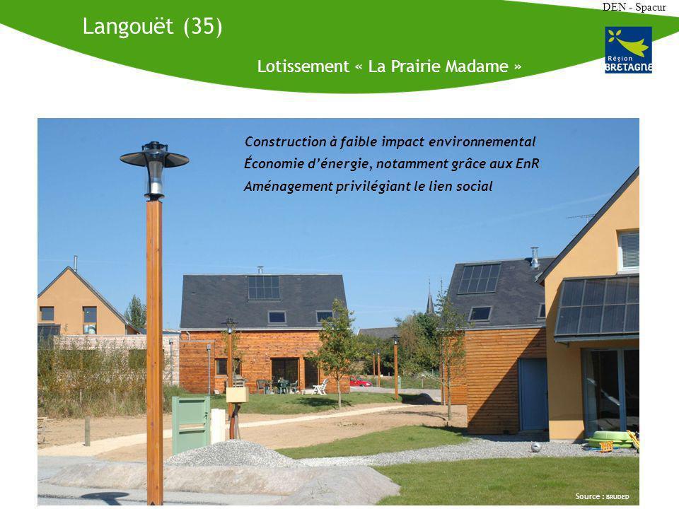 DEN - Spacur Langouët (35) Lotissement « La Prairie Madame » Source : BRUDED Construction à faible impact environnemental Économie dénergie, notamment grâce aux EnR Aménagement privilégiant le lien social