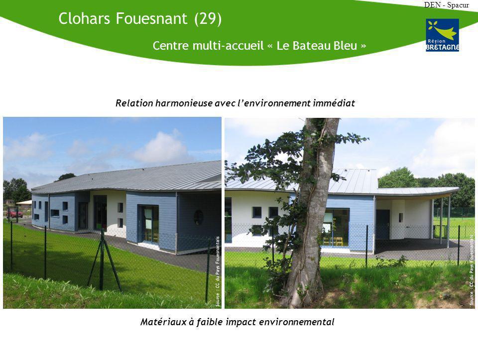 DEN - Spacur Centre multi-accueil « Le Bateau Bleu » Source : CC du Pays Fouesnantais Clohars Fouesnant (29) Relation harmonieuse avec lenvironnement immédiat Matériaux à faible impact environnemental