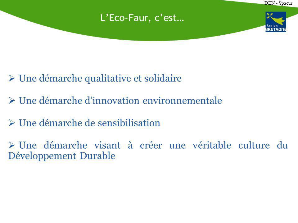DEN - Spacur LEco-Faur, cest… Une démarche qualitative et solidaire Une démarche dinnovation environnementale Une démarche de sensibilisation Une démarche visant à créer une véritable culture du Développement Durable