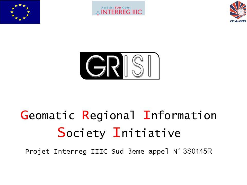 GRISI pour Interreg IIIC Sud22 La Regione Abruzzo contribuirà al progetto attraverso: limplementazione di una banca dati economica e georeferenziale a livello europeo.