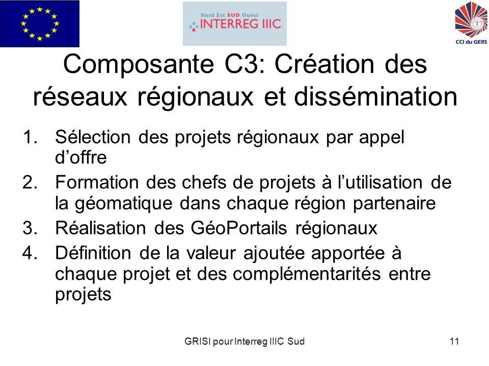 GRISI pour Interreg IIIC Sud11 Composante C3: Création des réseaux régionaux et dissémination 1.Sélection des projets régionaux par appel doffre 2.Formation des chefs de projets à lutilisation de la géomatique dans chaque région partenaire 3.Réalisation des GéoPortails régionaux 4.Définition de la valeur ajoutée apportée à chaque projet et des complémentarités entre projets