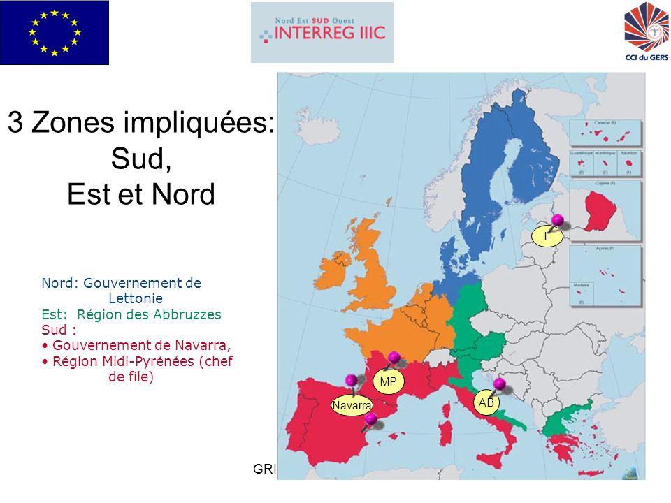 GRISI pour Interreg IIIC Sud3 Chiffres clefs des régions partenaires Midi-PyrénéesNavarreAbruzzesLettonie Population2 552 000591 0001 240 0002 346 000 (2002) Superficie Km² 45 34810 39110 79464 600 Densité/Km²5657119/km 2 37 % population Rurale 30%40%33%31% % Urbain70%60%67%69% PNB / hab19 361 (21 648 France) 23 588 (2003) 18 992 8500