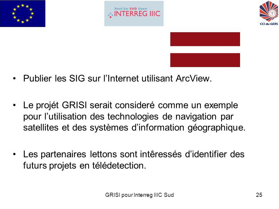 GRISI pour Interreg IIIC Sud25 Publier les SIG sur lInternet utilisant ArcView.