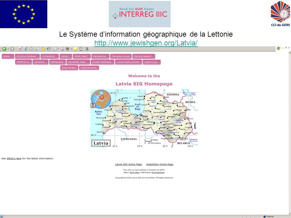 GRISI pour Interreg IIIC Sud26 Le Système dinformation géographique de la Lettonie http://www.jewishgen.org/Latvia/ http://www.jewishgen.org/Latvia/