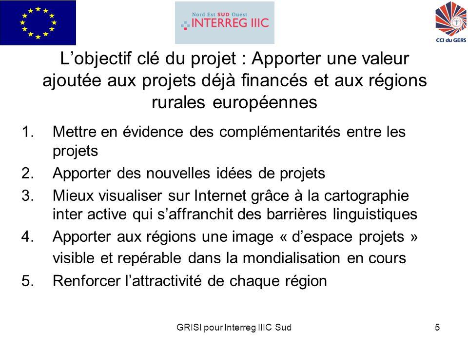 GRISI pour Interreg IIIC Sud6 Exemples de GéoPortails : projets SOHO SOLO et PYRED GéoPortail SOHO permettant de situer tous les services de proximité et tous les patrimoines dune région pour attirer de nouveaux habitants ( http://www.soho-solo.com/sologers/index.php3 http://www.soho-solo.com/sologers/index.php3 GeoPortail PYRED permettant de créer une identité territoriale transfrontalière France Espagne pour le développement de la coopération entre les entreprises ( http://pyred.tracasa.es/navegar/?lang=fra ) http://pyred.tracasa.es/navegar/?lang=fra