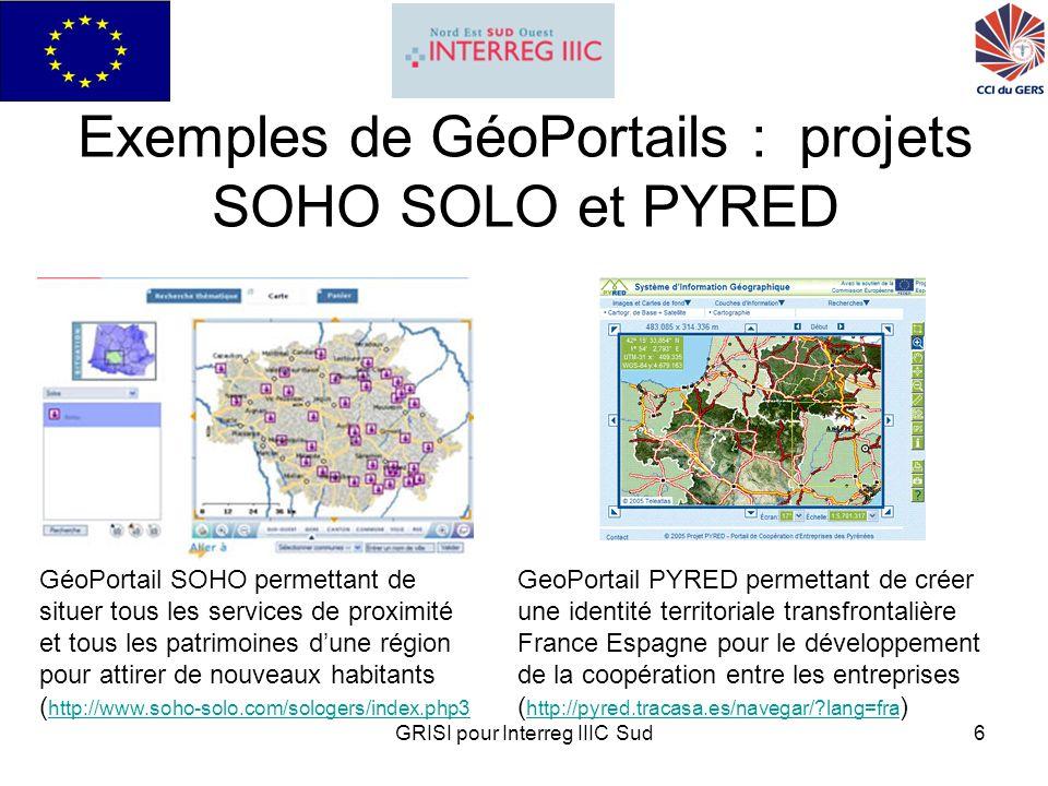 GRISI pour Interreg IIIC Sud17 Le site du pôle technologique géomatique www.teleparc.net www.teleparc.net