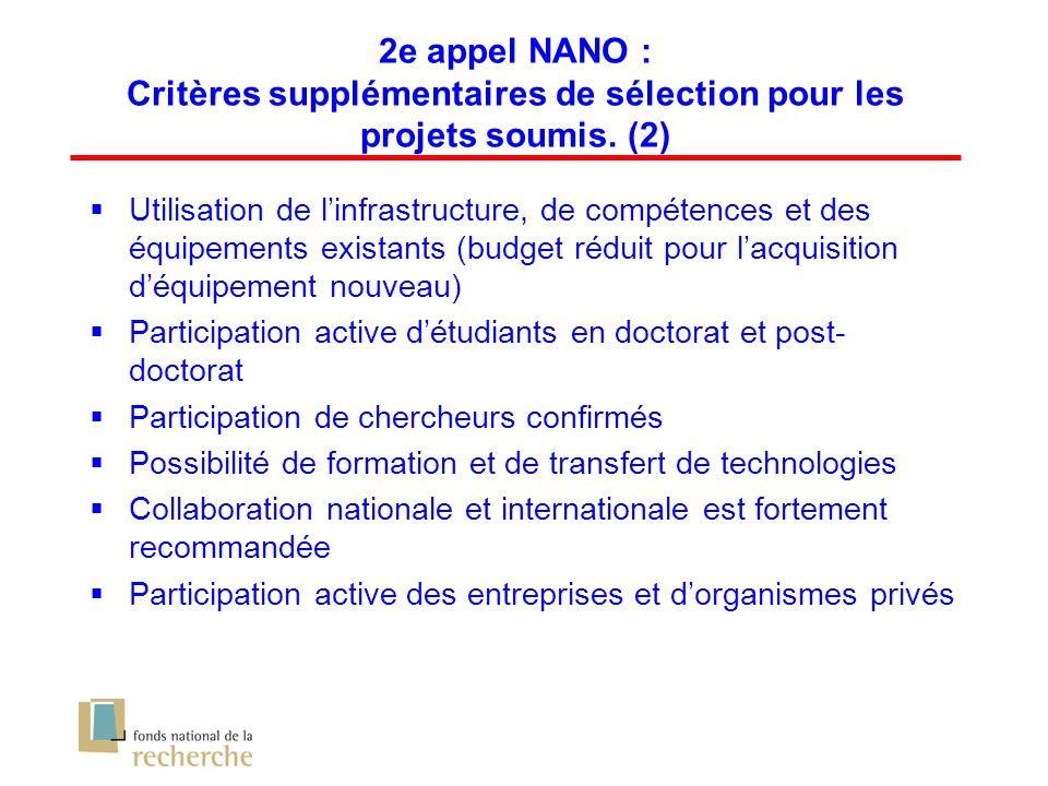2e appel NANO : Critères supplémentaires de sélection pour les projets soumis.