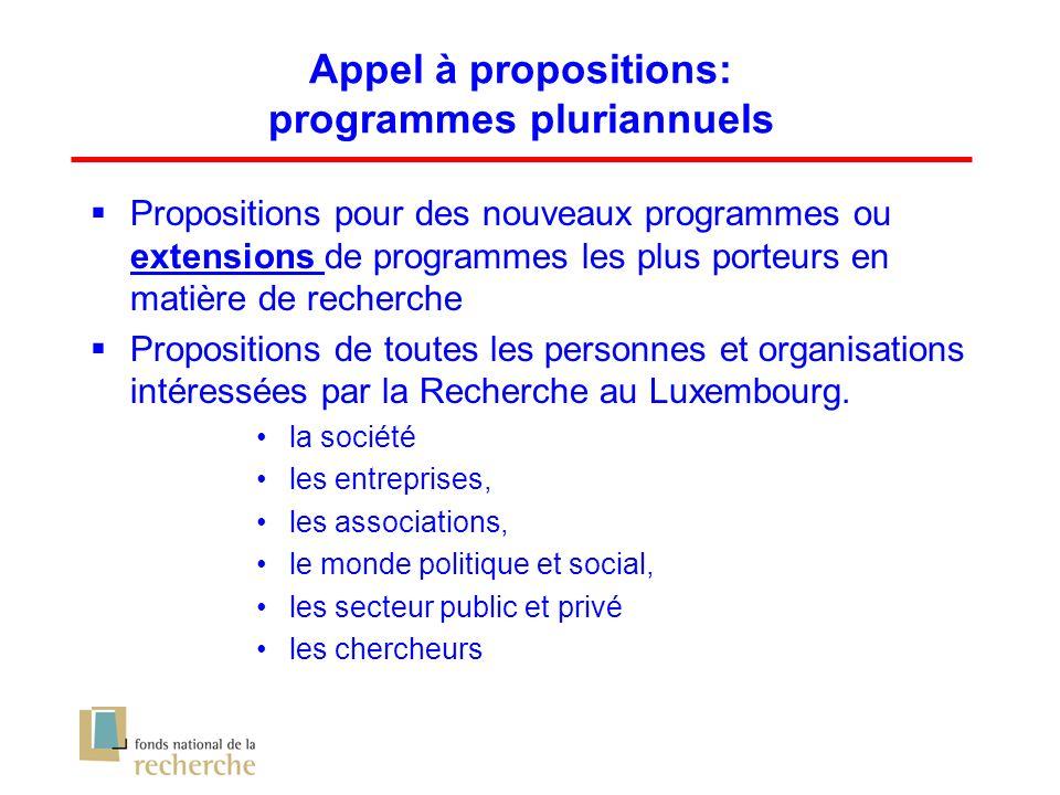 Appel à propositions: programmes pluriannuels Propositions pour des nouveaux programmes ou extensions de programmes les plus porteurs en matière de recherche Propositions de toutes les personnes et organisations intéressées par la Recherche au Luxembourg.