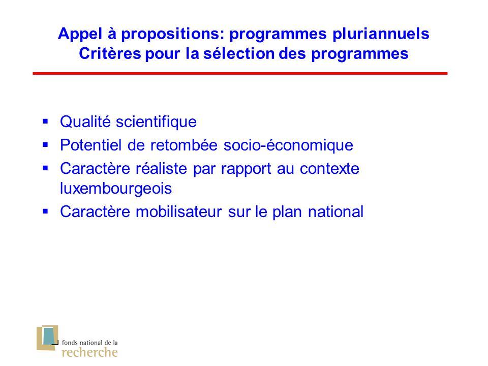 Qualité scientifique Potentiel de retombée socio-économique Caractère réaliste par rapport au contexte luxembourgeois Caractère mobilisateur sur le plan national Appel à propositions: programmes pluriannuels Critères pour la sélection des programmes