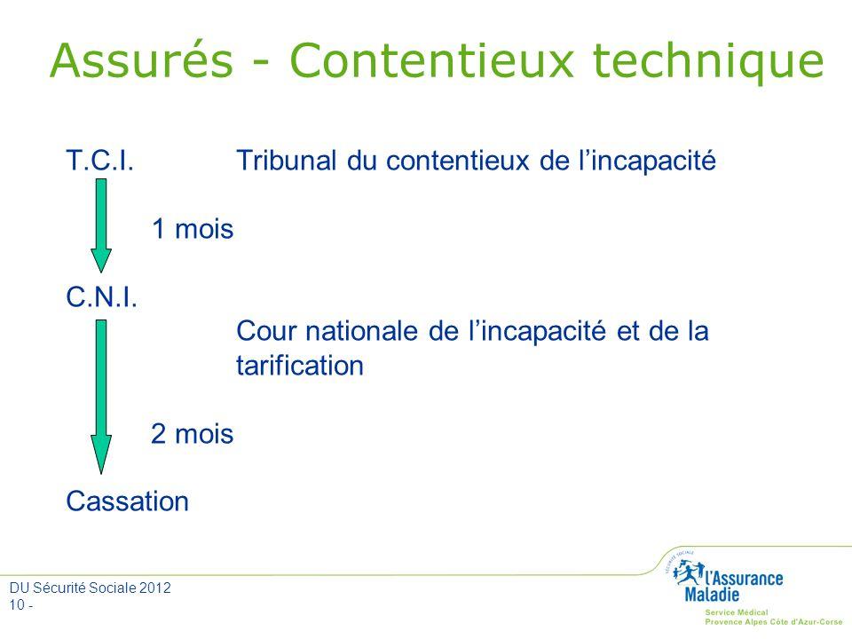 DU Sécurité Sociale 2012 10 - Assurés - Contentieux technique T.C.I. Tribunal du contentieux de lincapacité 1 mois C.N.I. Cour nationale de lincapacit