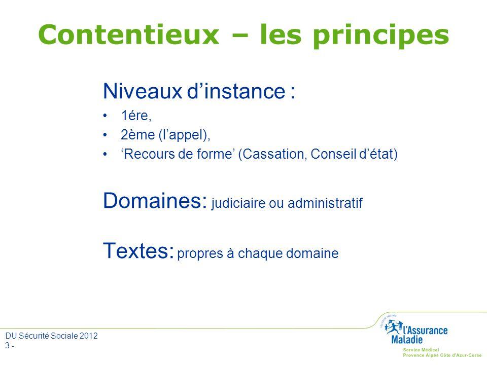 DU Sécurité Sociale 2012 3 - Contentieux – les principes Niveaux dinstance : 1ére, 2ème (lappel), Recours de forme (Cassation, Conseil détat) Domaines