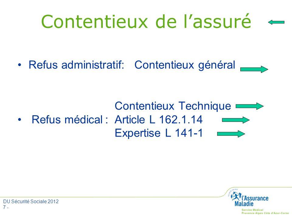 DU Sécurité Sociale 2012 7 - Contentieux de lassuré Refus administratif: Contentieux général Contentieux Technique Refus médical: Article L 162.1.14 E