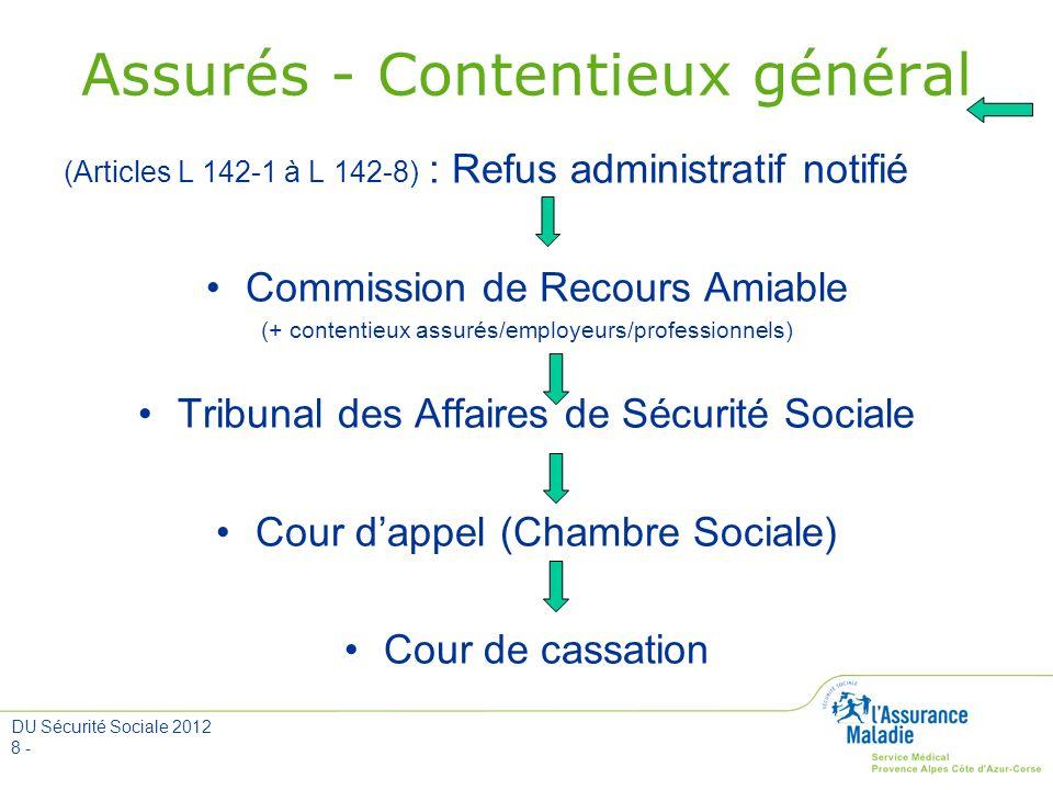 DU Sécurité Sociale 2012 8 - Assurés - Contentieux général (Articles L 142-1 à L 142-8) : Refus administratif notifié Commission de Recours Amiable (+