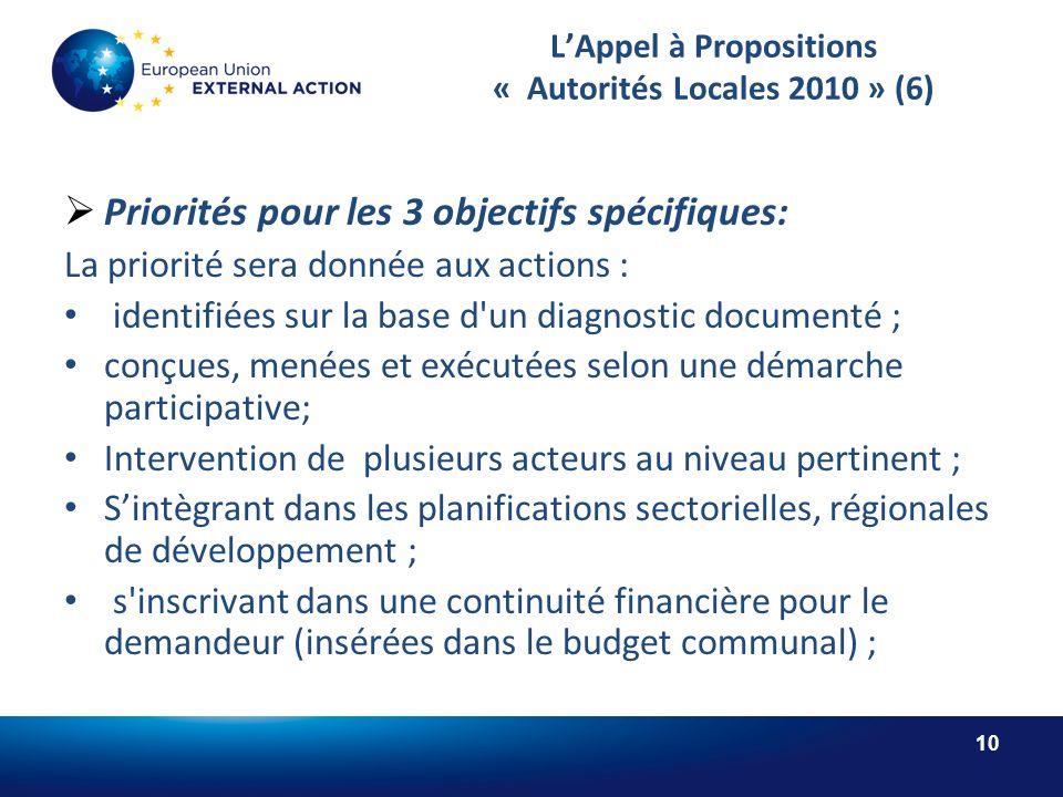 10 LAppel à Propositions « Autorités Locales 2010 » (6) Priorités pour les 3 objectifs spécifiques: La priorité sera donnée aux actions : identifiées sur la base d un diagnostic documenté ; conçues, menées et exécutées selon une démarche participative; Intervention de plusieurs acteurs au niveau pertinent ; Sintègrant dans les planifications sectorielles, régionales de développement ; s inscrivant dans une continuité financière pour le demandeur (insérées dans le budget communal) ;