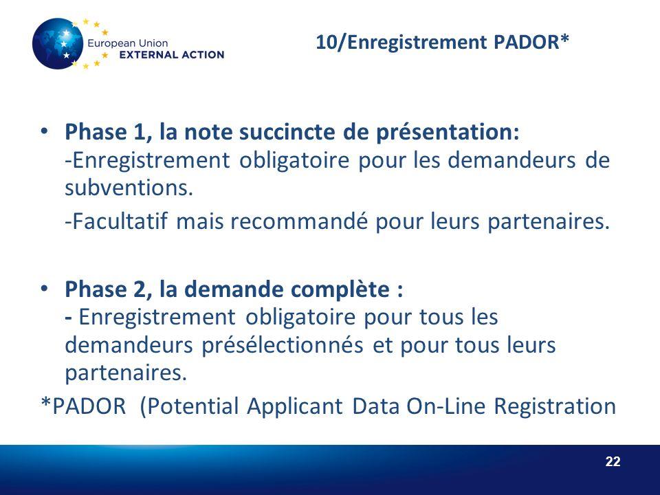 22 10/Enregistrement PADOR* Phase 1, la note succincte de présentation: -Enregistrement obligatoire pour les demandeurs de subventions.