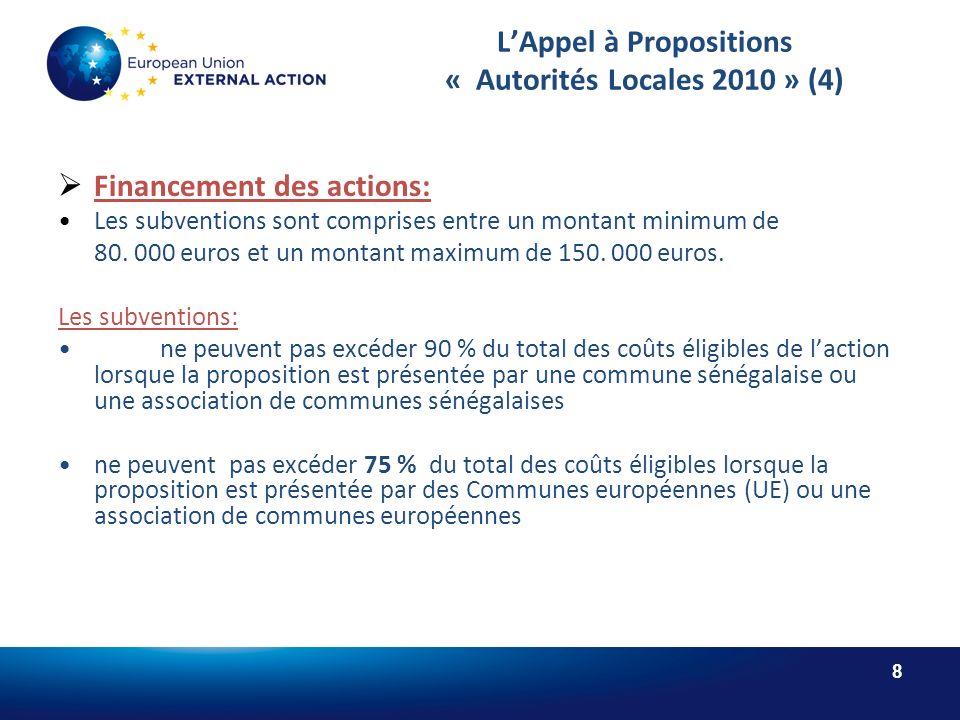 8 LAppel à Propositions « Autorités Locales 2010 » (4) Financement des actions: Les subventions sont comprises entre un montant minimum de 80.