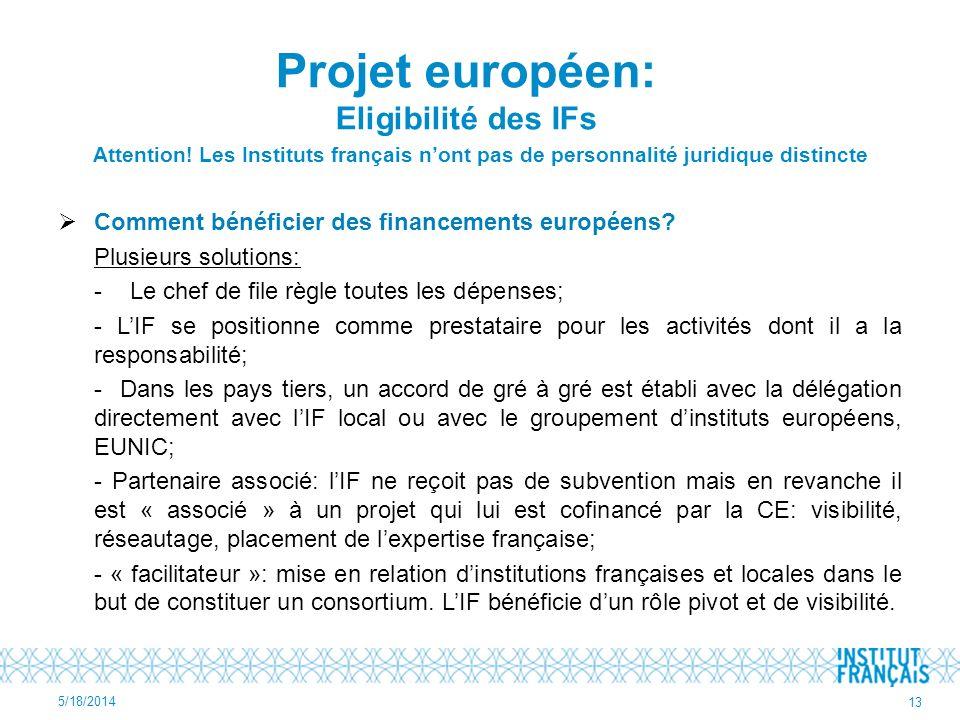 Attention! Les Instituts français nont pas de personnalité juridique distincte Comment bénéficier des financements européens? Plusieurs solutions: - L