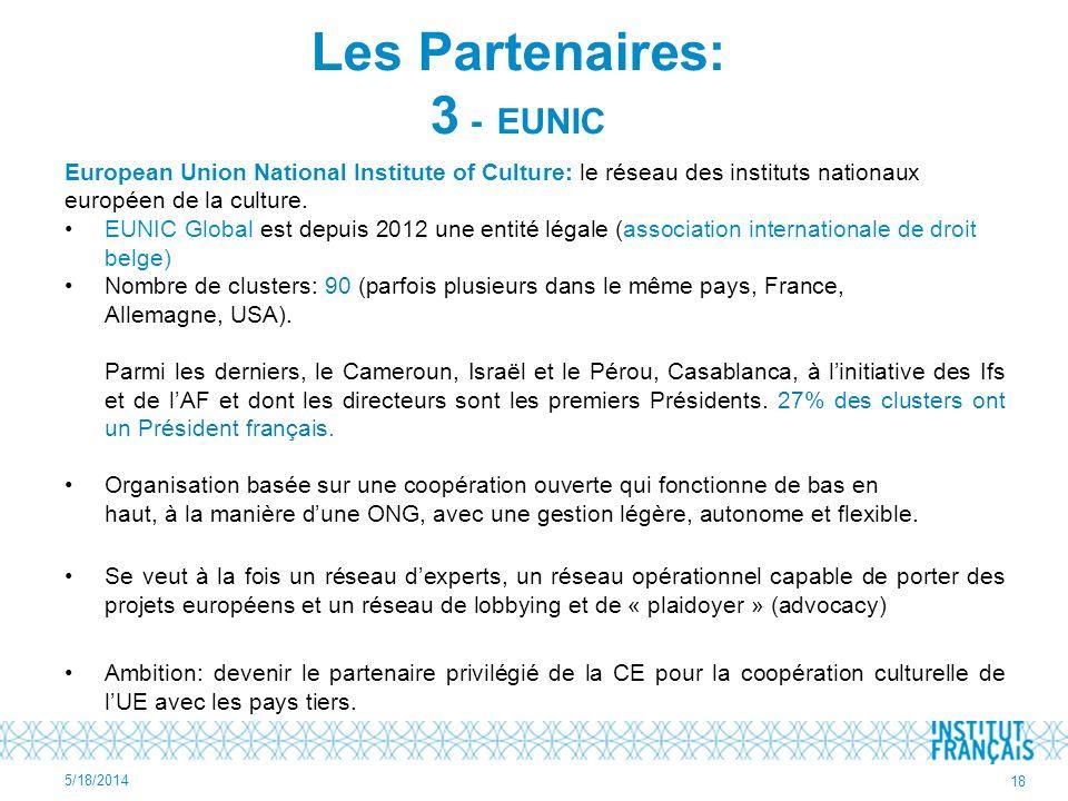 European Union National Institute of Culture: le réseau des instituts nationaux européen de la culture. EUNIC Global est depuis 2012 une entité légale