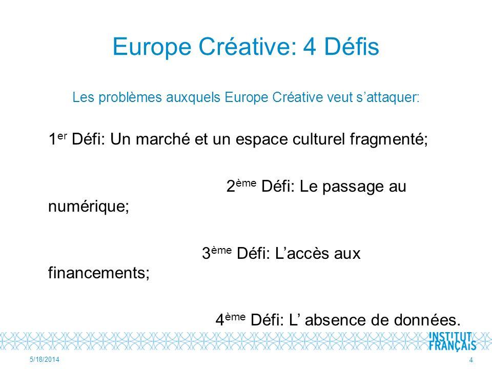 Europe Créative: 4 Défis Les problèmes auxquels Europe Créative veut sattaquer: 1 er Défi: Un marché et un espace culturel fragmenté; 2 ème Défi: Le p