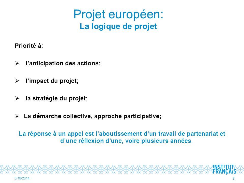 Priorité à: lanticipation des actions; limpact du projet; la stratégie du projet; La démarche collective, approche participative; La réponse à un appe