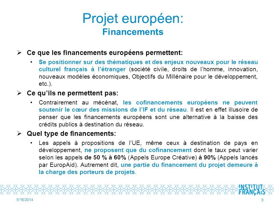 Ce que les financements européens permettent: Se positionner sur des thématiques et des enjeux nouveaux pour le réseau culturel français à létranger (
