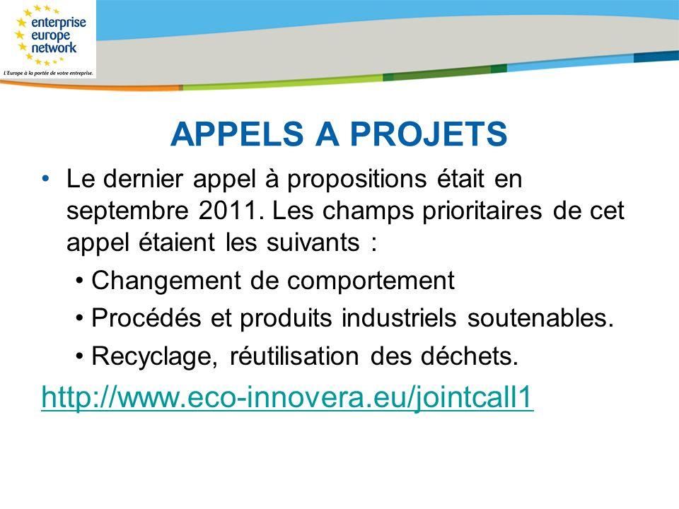 Title of the presentation | Date |# APPELS A PROJETS Le dernier appel à propositions était en septembre 2011. Les champs prioritaires de cet appel éta