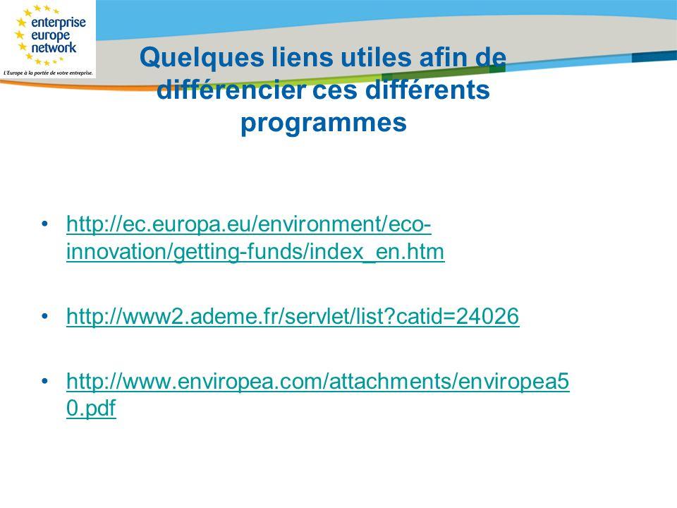 Title of the presentation | Date |# Quelques liens utiles afin de différencier ces différents programmes http://ec.europa.eu/environment/eco- innovati