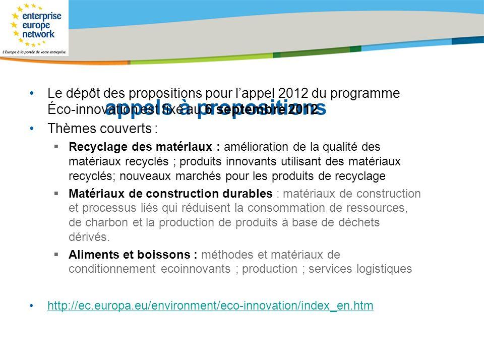 Title of the presentation | Date |# appels à propositions Le dépôt des propositions pour lappel 2012 du programme Éco-innovation est fixé au 6 septemb