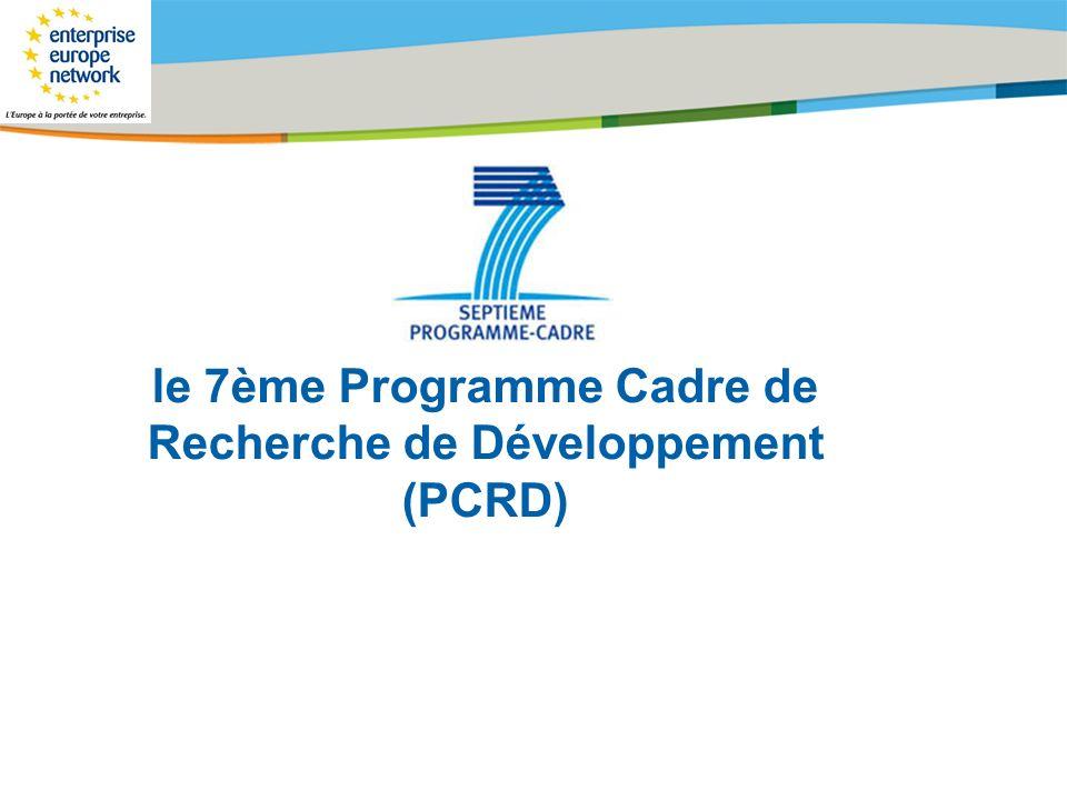 Title of the presentation   Date  # Ce programme cadre vise à financer des projets collaboratifs innovants de recherche et développement et sétablit pour une durée de 7ans (2007-2013) avec un budget total de 53,3 milliards deuros.