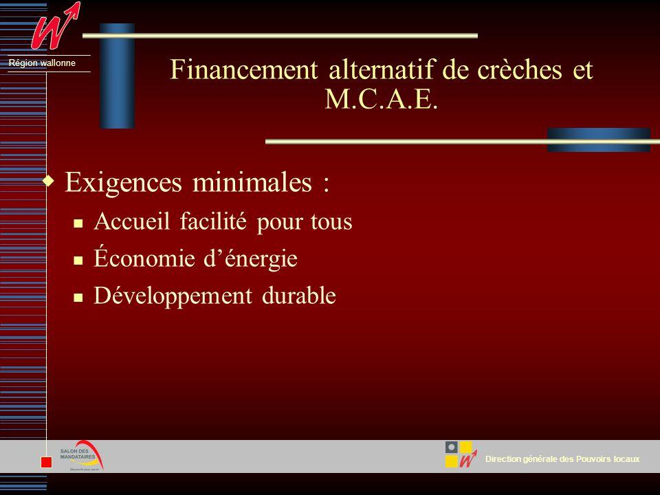 Direction générale des Pouvoirs locaux Région wallonne Exigences minimales : Accueil facilité pour tous Économie dénergie Développement durable Financement alternatif de crèches et M.C.A.E.