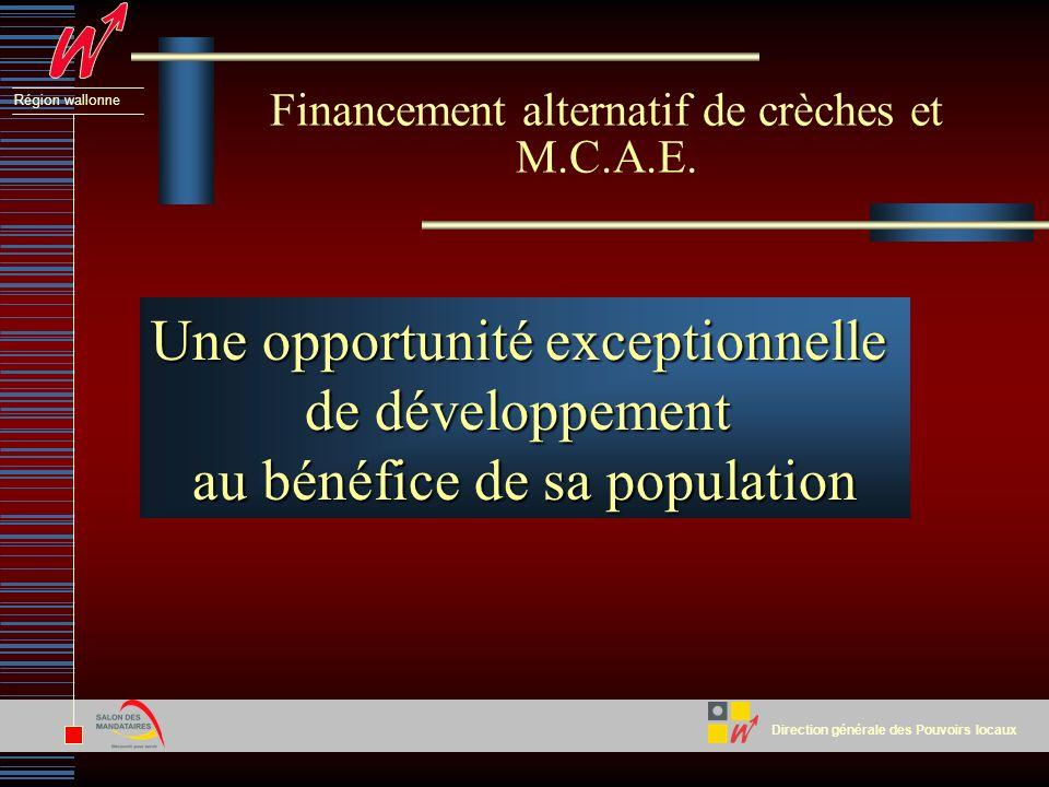 Direction générale des Pouvoirs locaux Région wallonne Financement alternatif de crèches et M.C.A.E.