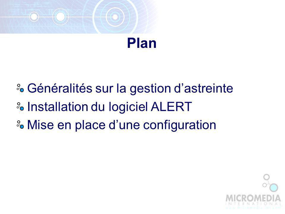 Plan Généralités sur la gestion dastreinte Installation du logiciel ALERT Mise en place dune configuration