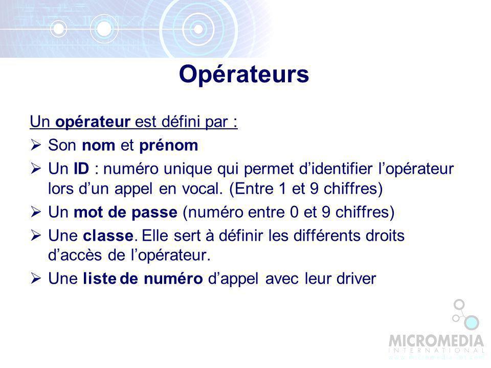 Opérateurs Un opérateur est défini par : Son nom et prénom Un ID : numéro unique qui permet didentifier lopérateur lors dun appel en vocal.