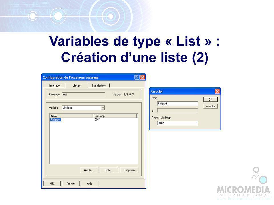 Variables de type « List » : Création dune liste (2)