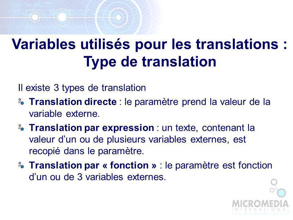 Il existe 3 types de translation Translation directe : le paramètre prend la valeur de la variable externe.
