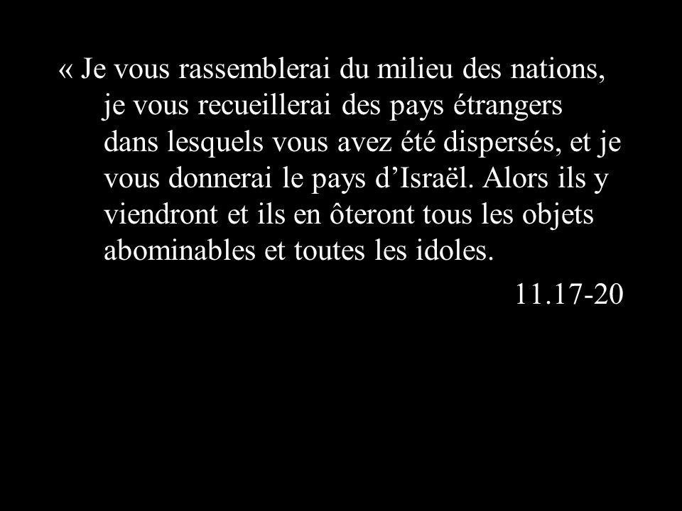 « Je vous rassemblerai du milieu des nations, je vous recueillerai des pays étrangers dans lesquels vous avez été dispersés, et je vous donnerai le pays dIsraël.