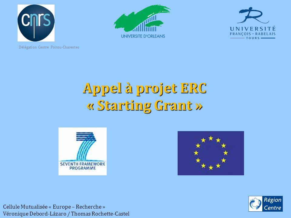 Cellule Mutualisée « Europe – Recherche » Véronique Debord-Lázaro / Thomas Rochette-Castel Appel à projet ERC « Starting Grant » Délégation Centre Poi
