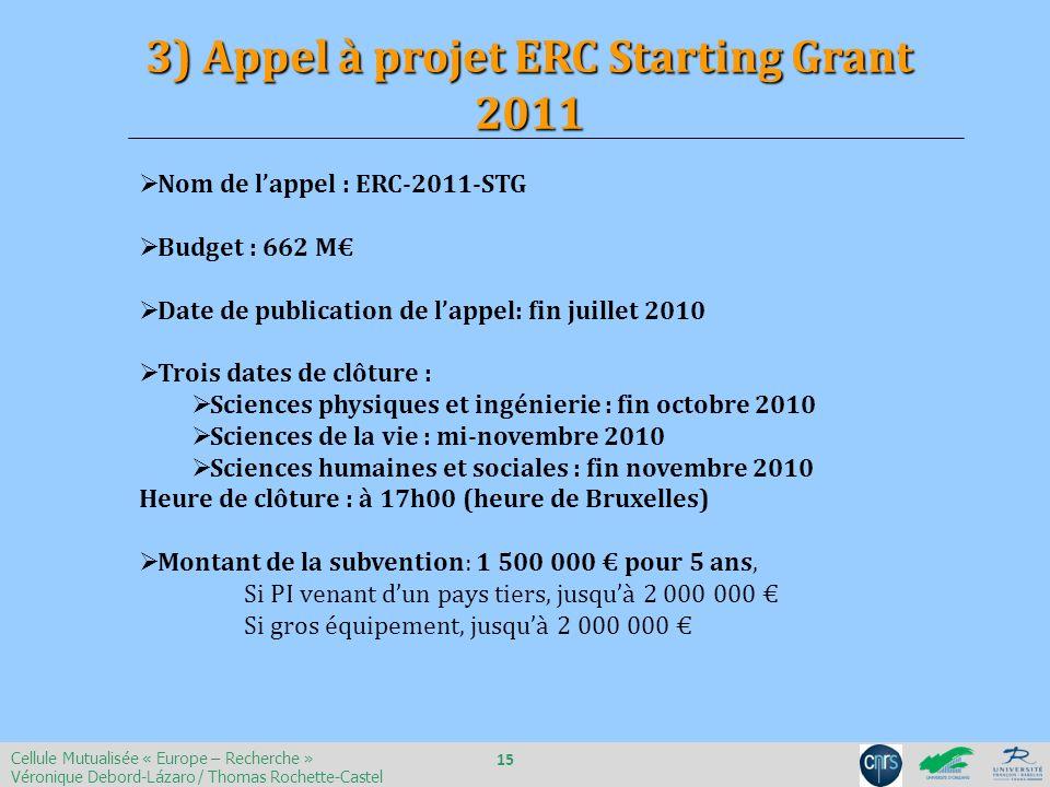Nom de lappel : ERC-2011-STG Budget : 662 M Date de publication de lappel: fin juillet 2010 Trois dates de clôture : Sciences physiques et ingénierie