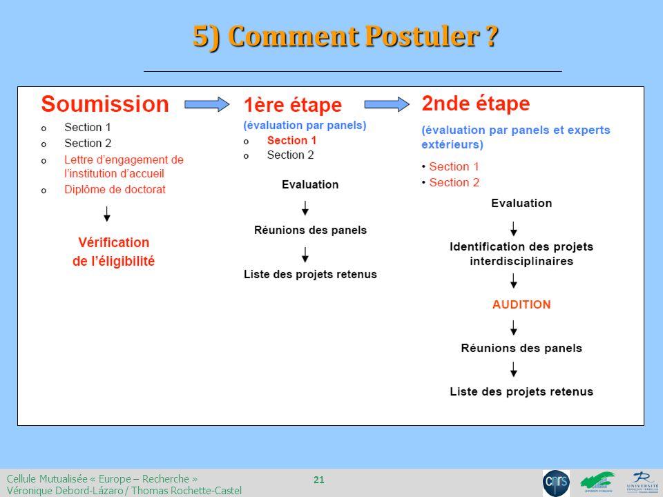 5) Comment Postuler ? Cellule Mutualisée « Europe – Recherche » Véronique Debord-Lázaro / Thomas Rochette-Castel 21