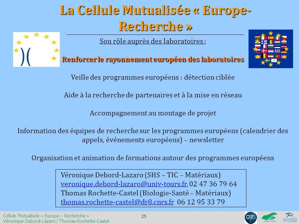Son rôle auprès des laboratoires : Renforcer le rayonnement européen des laboratoires Veille des programmes européens : détection ciblée Aide à la rec