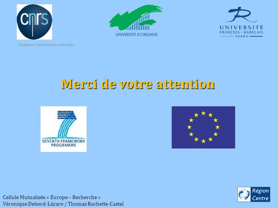 Cellule Mutualisée « Europe – Recherche » Véronique Debord-Lázaro / Thomas Rochette-Castel Merci de votre attention Délégation Centre Poitou-Charentes