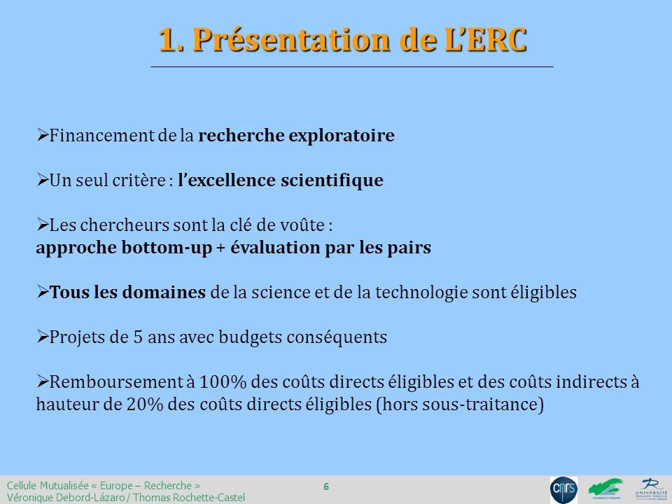 Un porteur de projet unique : le PI « Principal Investigator » Important : lERC ne finance pas de consortium !.