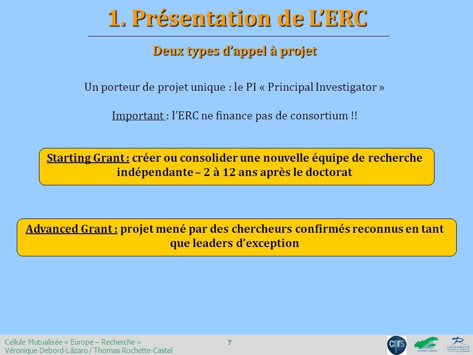 Un porteur de projet unique : le PI « Principal Investigator » Important : lERC ne finance pas de consortium !! Starting Grant : créer ou consolider u