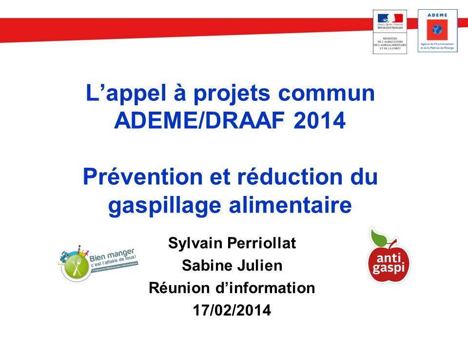 Lappel à projets commun ADEME/DRAAF 2014 Prévention et réduction du gaspillage alimentaire Sylvain Perriollat Sabine Julien Réunion dinformation 17/02